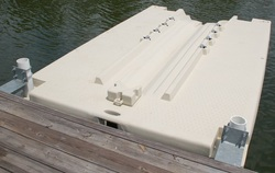 Modular floating dock anchorage from M&M Dock King Inc, Pipe brackets, dock pile hoops, chain anchors